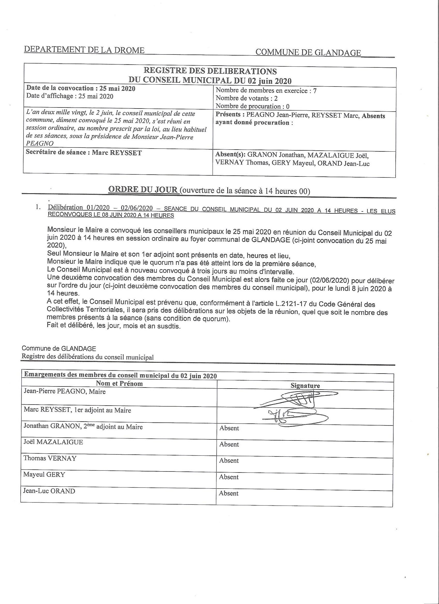 Registre déliberations du 02 juin 2020 001
