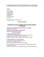 Conseil Municipal du 22 avril 2014