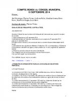 Conseil Municipal du 10 septembre 2014